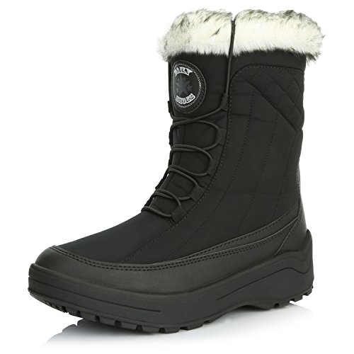 DailyShoes Women's Woman's Ankle High Locked Lace Up Warm Fur Water Resistant Eskimo Snow Boots, Black, 8 B(M) US ()