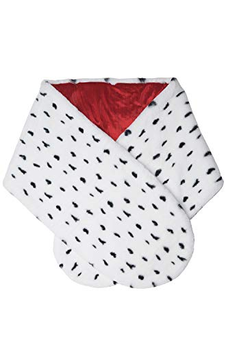 Cruella Deville Coat (California Costumes Faux Dalmation Stole, White/Black/Red, One)