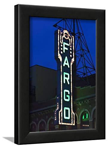 ArtEdge Theater Sign, Fargo, North Dakota, USA by Walter Bibikow, Wall Art Framed Print, 12x8, Black ()