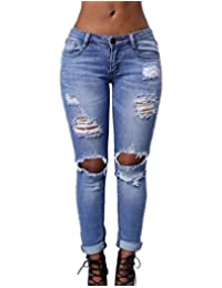 Burvogue Women's Blue Denim Stretch Jeans Skinny Distressed Pants