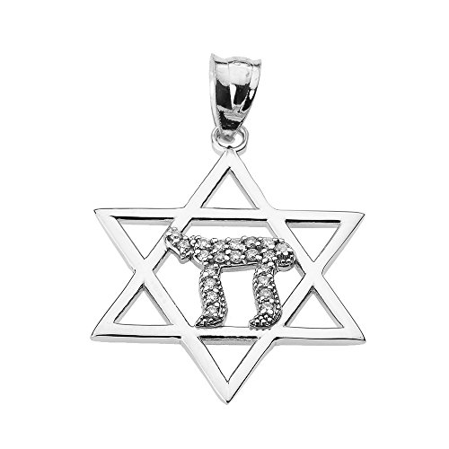 White Gold Diamond Chai Pendant (Solid 14k White Gold Star of David with Chai Diamond)