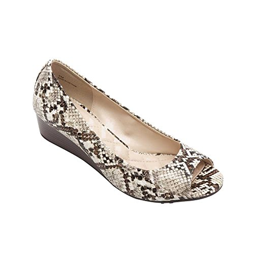 Pic/Pay Sailor Women's Pumps - Peep Toe Wedge Cream/Brown Snake Printed PU 8M -