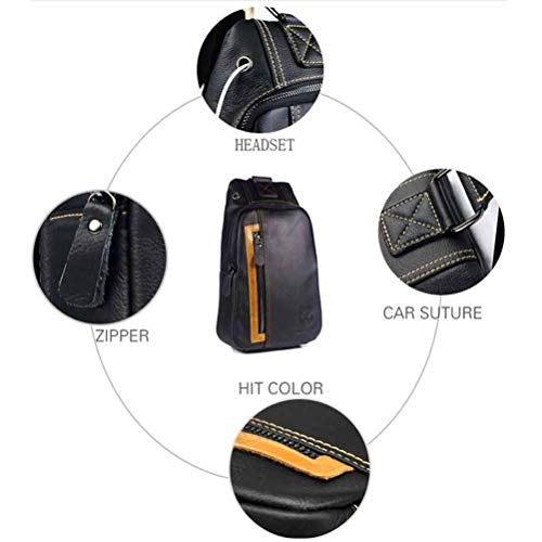 Casual 1 Men's For Sling Genuine Black Hiking Business Chest 3 Shoulder Bag Sport Messenger Black Daypack Travel Leather TTrqp8wv