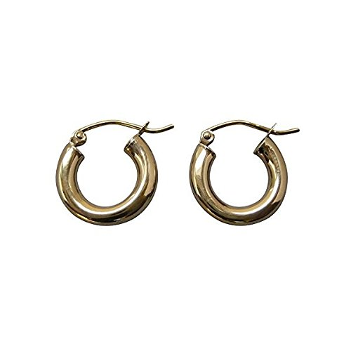 Small 14K Yellow Gold Thick Tube Hoop Earrings, (3mm Tube) (15mm)