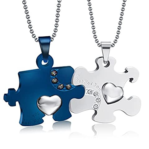 Stainless Steel Puzzle Cubic Zirconia Mens Womens Couple Pendant Necklace,Blue & ,Free Chain