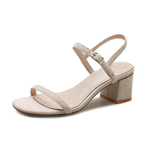 MUMA Escarpin Sandales d'été femmes milieu avec 2018 nouveau noir gris rose nu mots sauvages talons hauts romain épais talon chaussures pour femmes ( Couleur : Gris , taille : EU38/UK5.5/CN38 )