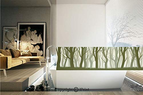 Ylljy00 Decorative Privacy Window Film/Mother Nature Theme Illustration of Mystic Forest with Trees/No-Glue Self Static Cling for Home Bedroom Bathroom Kitchen Office Decor Army Green and Sage Green ()