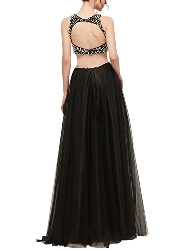 Open Neck Bess Women's Prom Round Piece Black Bridal Back Tulle with Two Pearls Dress pqpwXYr