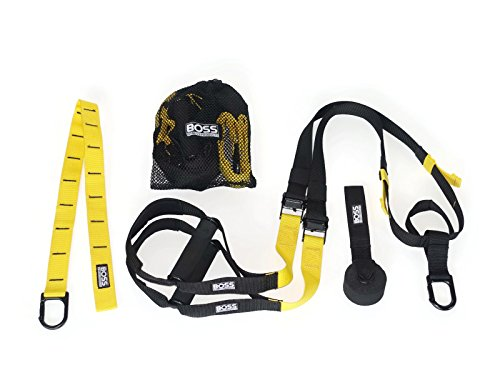Boss Fitness Products - Suspension Fitness Trainer - Professional Grade - Premium Door Anchor - Extra Strength Carabiner - Extension Attachment Anchor - Free Mesh Bag (Yellow) (Door Jamb Pull Up Bar compare prices)