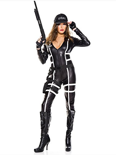 Music Legs 4 PC. Swat agent Includes: long sleeve wet look bodysuit, hat, gloves and belt with holster (Swat Agent Sexy Costume)