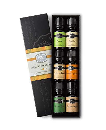 Autumn Set of 6 Premium Grade Fragrance Oils - Brown Sugar, Apple, Harvest Spice, Vanilla, Forest Pine, Snickerdoodle - 10ml - Spice Fragrance Oil