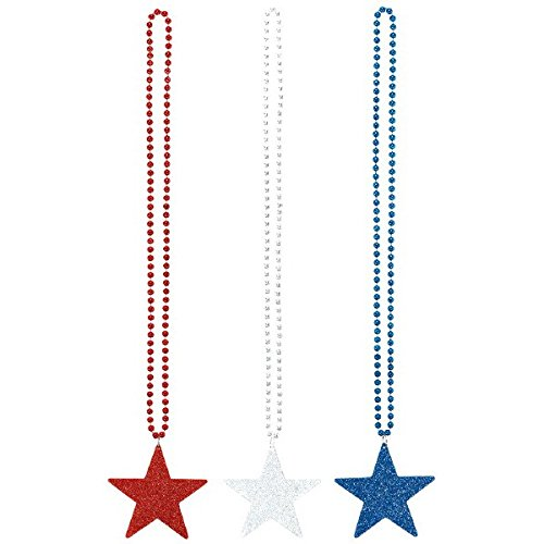 All -American Fourth of July Star Glitter and Beads Necklace Accessory, Plastic, 36