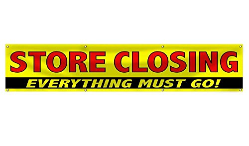 Wall26 STORE CLOSING EVERYTHING MUST GO! Clearance Sale Banner Sign | Store Closeout Vinyl Advertising Banner