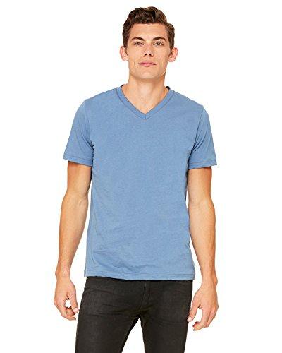 (Canvas Unisex 4.2 oz. V-Neck Jersey T-Shirt>XL STEEL BLUE 3005)