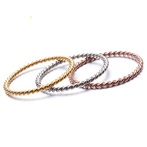 JAJAFOOK Women's Stainless Steel 1.5MM Dainty Twist Design Stackable Set Skinny Ring Band,Tri-color