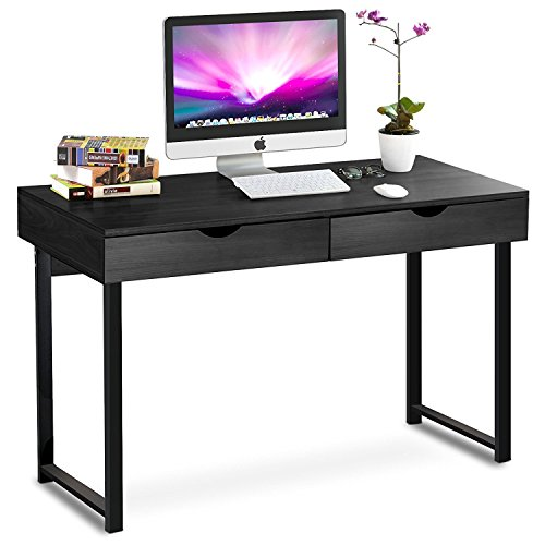 Tribesigns Computer Desk Modern Stylish 47'' Home Office Study Table Writing Desk Workstation with 2 Drawers, Black by Tribesigns