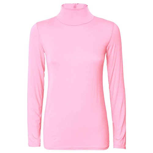Pink NECK NECK 8 LONG TOP Jumper NECK SLEEVE ROLL TURTLE Baby WOMENS POLO 26 PLAIN LADIES x7tZXRR