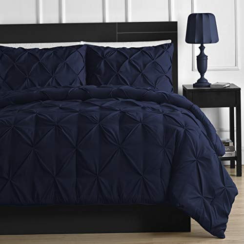 Hemau Premium New Soft 3-Piece Pinch Pleat Comforter Set All Season Pintuck Style Double Needle Durable Stitching, Queen Navy Blue   Style -