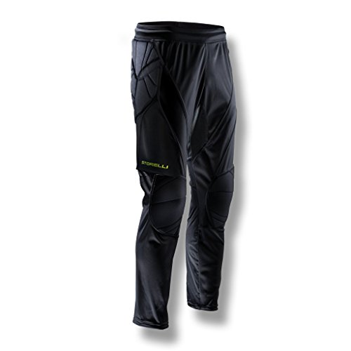 Storelli ExoShield Goalkeeper Pants |Soccer Equipment With Elastic Spandex |Anti-Bacterial|Sweat-Wicking With Great Padding Knees & Hips|Black ()
