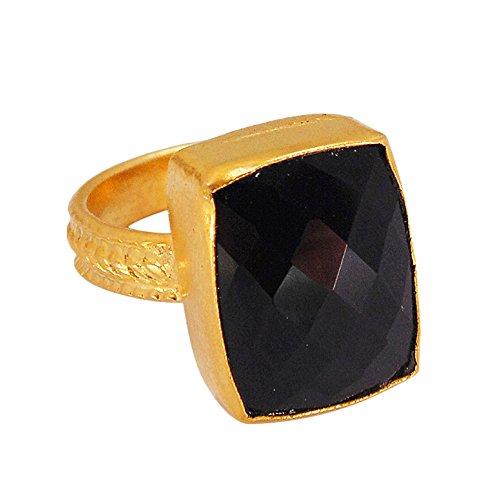 Artisan Handmade 24k Gold Vermeil Black Onyx Gemstone Designer Ring For Women Birthday Gift Onyx Vermeil Ring