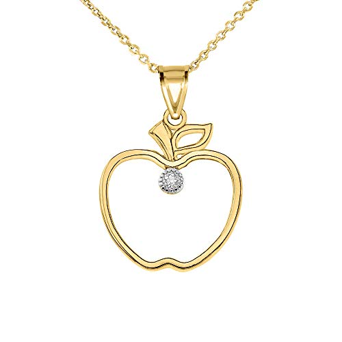 Fine 10k Yellow Gold Diamond Outline Leaf and Fruit Charm Apple Pendant Necklace, 20