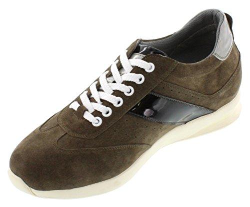 calto–A3618–7,1cm Grande Taille–Hauteur Augmenter Chaussures ascenseur–Olive Kaki Brun Casual Chaussures