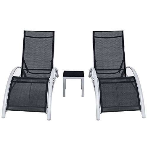 Giantex 3-Piece Chaise Lounge Set Aluminum Frame W/ 1 Small Table 2 Chairs for Outdoor Patio Garden Yard Pool Furniture Adjustable Chaise Lounge Chairs ()