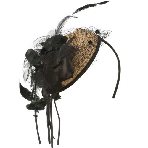 Straw Flower And Feather Cocktail Hat Headband   Natural Black Osfm