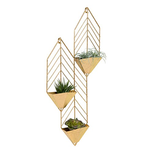Kate and Laurel Tain Metal Wall Hanging Planter with 3 Pockets, Gold from Kate and Laurel