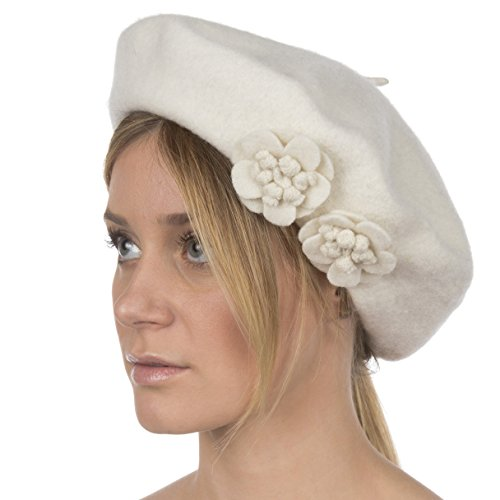 Sakkas 674WSS Magnolia Wool Slouch Beret - White - One Size