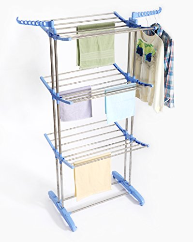 Premium Clothes Drying Rack Stainless Steel Foldable Heavy Duty, Portable, Rolling, Compact Storage Laundry