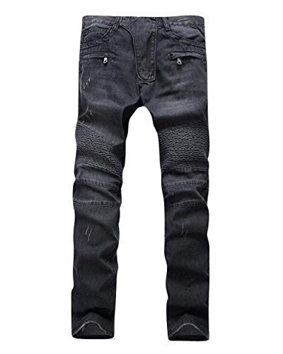 ADELINA Pantalones De Mezclilla De Moto Hombre para De Pantalones Biker Ropa Mezclilla Desgastados Desgastados Ufig Pantalones De Mezclilla Pitillo para Pantalones Ajustados Negro