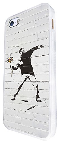 549 - Banksy Flower Thrower Graffiti Art Design iphone SE - 2016 Hülle Fashion Trend Case Back Cover Metall und Kunststoff - Weiß