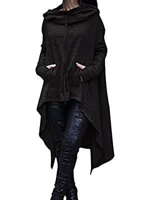 Shineya Women's Solid Color Pullover Hoodie Asymmetric Hem Sweatshirts Dress S-5XL