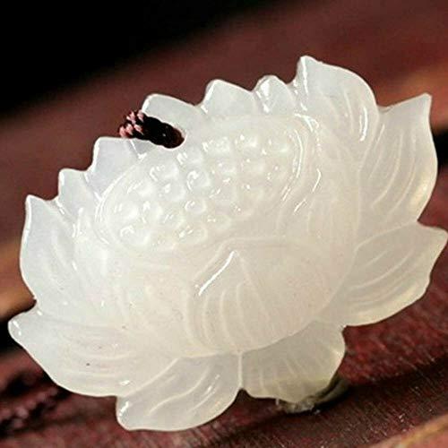Jewelry Ethnic Flower Jade Stone Natural White Jade Lotus Hand-carved - Pendant Circular Swirl