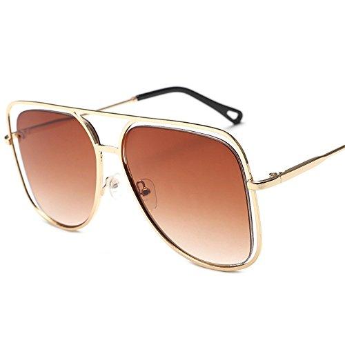 sol coloridas de cuadrado Doble coloridas de y sol Gafas ahuecadas Gafas individuales Té gafas gran Shop 6 sol de de metálicas oceánico sol Dorado gafas color Marco TwvExOqnS