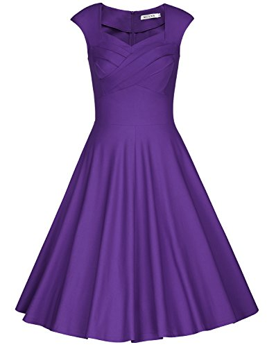 - MUXXN Women's 1950s Vintage Retro Capshoulder Party Swing Dress (L, Purple)