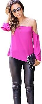 Mujer Camisa Blusa elegante mujer Blusa – Camiseta de mujer – Camiseta de mujer – Rejilla seda sintética manga larga cuello redondo, color Rosa - fucsia, tamaño L: Amazon.es: Deportes y aire libre