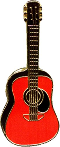 Martin Dreadnought Red Guitar Shaped Enamel Pin - Guitar Pin Brooch