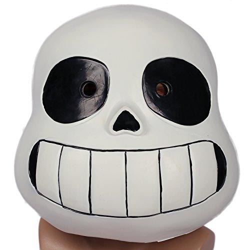 [Sans Mask Helmet Costume Props for Adult Halloween Cosplay Latex Black] (Halloween Skeleton Mask)