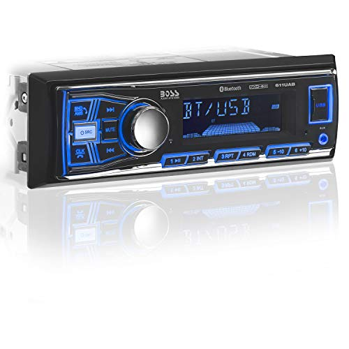 BOSS Audio 611UAB Multimedia Car Stereo - Single Din, Bluetooth Audio and Hands-Free Calling, Built-in Microphone, MP3 Player, USB Port, AUX Input, AM/FM Radio Receiver, (No CD/DVD Player) ()
