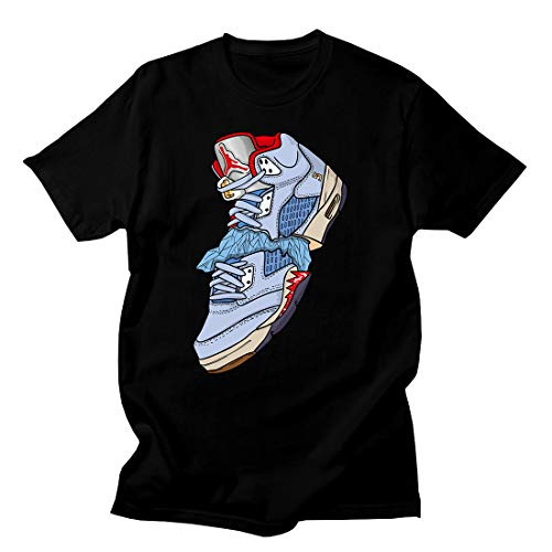 Custom T Shirt Matching Style of Trophy Room J 5 Ice Blue JD 5-1-17-10-BLACK-S