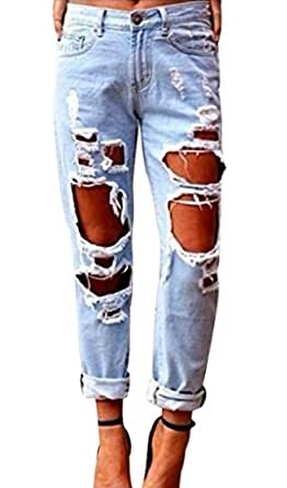 Womens Skinny Faded Ripped Casual Slim Denim Cotton Jeans