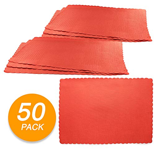 SparkSettings Disposable Paper Placemat for Dining Table Easy to Clean Made of Paper Great for Various Party, Events, Festivals or Occasions - Apple Red (50/Pack)