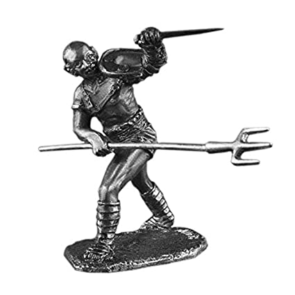 Set Of 4 Pewter Roman Gladiators Figures Toy Soldiers