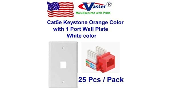 White Color Vastercable Cat5e Punch Down Keystone Jack RED Color with 1port Rj 45 Keystone Wall Plate 5 PCS//Pack