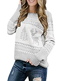 Women Ugly Christmas Tree Reindeer Holiday Knit Sweater Pullover