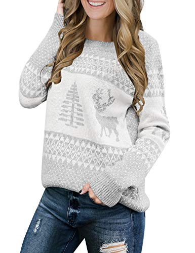 LookbookStore Women's Grey Long Sleeves Ugly Christmas Tree Reindeer Winter Holiday Knit Sweater Pullover Size S 4 6 (Best Fair Isle Sweaters)