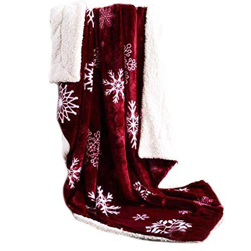 IDOXE Christmas Fleece Throw Blanket,Super Soft Warm Fuzzy Comfy Lambswool Snowflake Blankets Reversible Plush Fleece Christmas Theme Throws 59