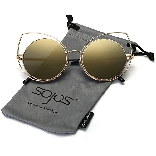 SojoS Women's Metal Frame Cutout Hollow Out Round Cat Eye Sunglasses SJ1046 With Gold Frame/Gold - Eye Eyes Cat For Round